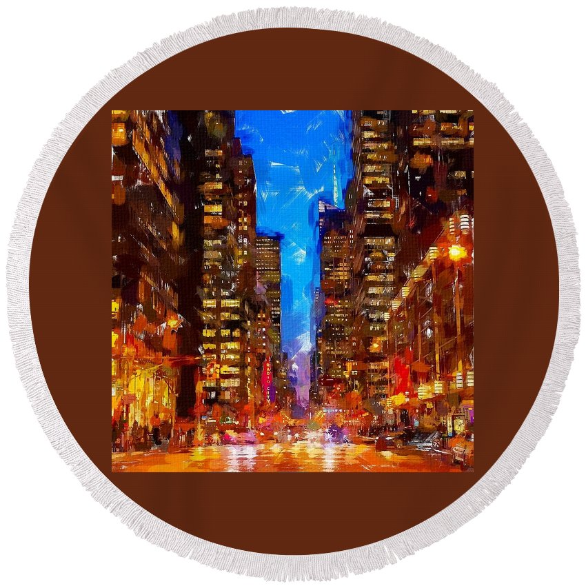Nyc Round Beach Towel featuring the painting Nyc 4 by Chris Butler