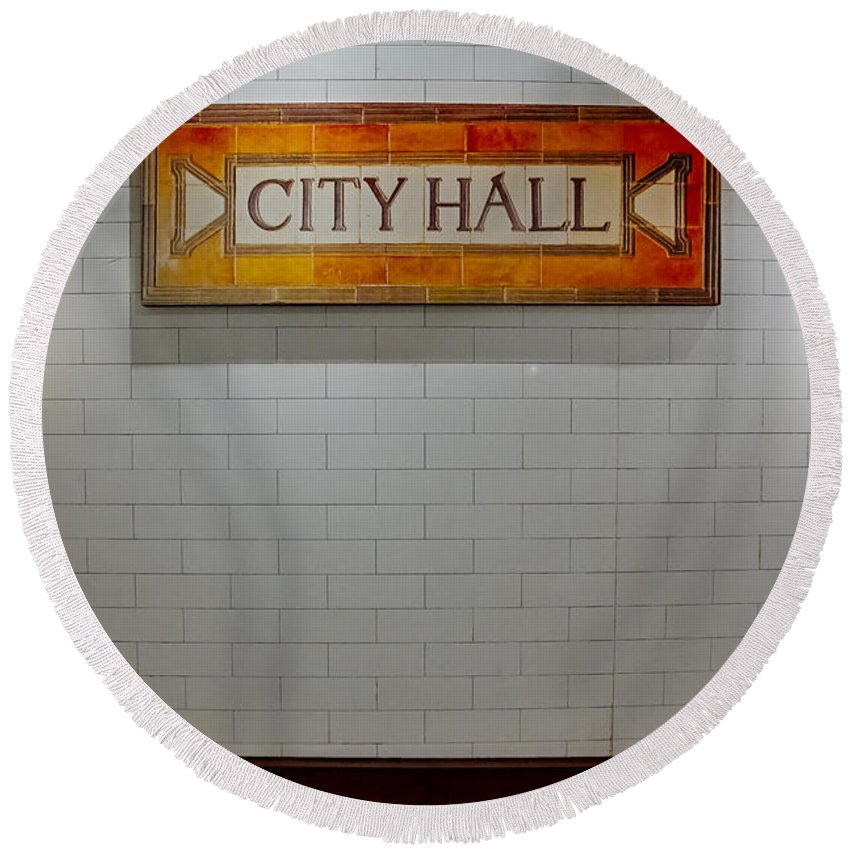 America Round Beach Towel featuring the photograph Nyc City Hall Subway Station by Susan Candelario