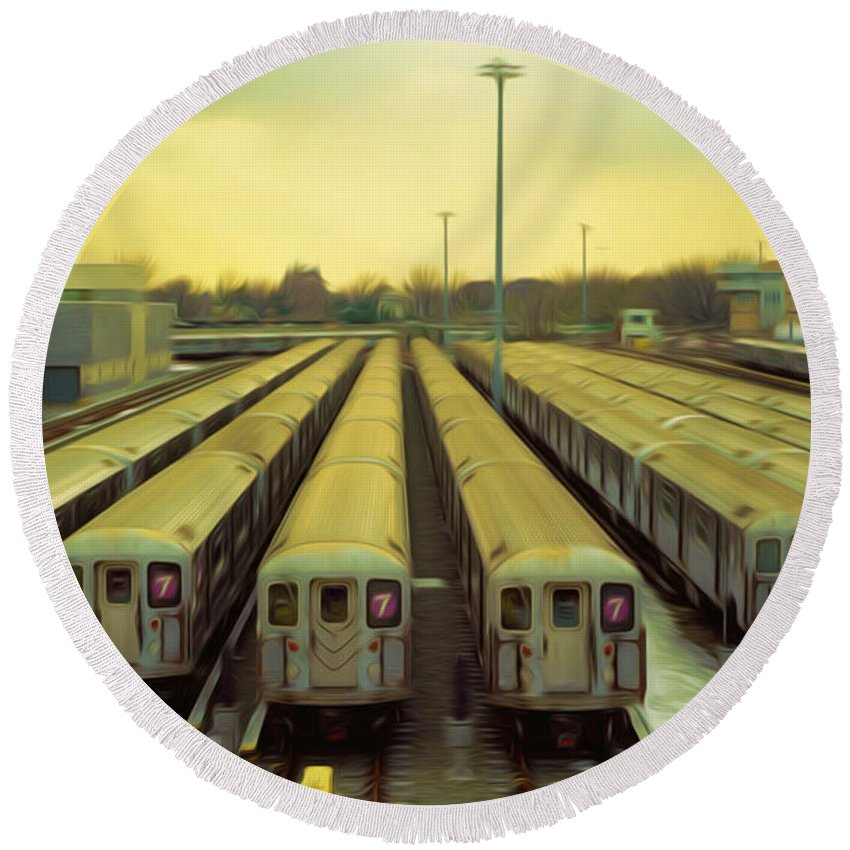 Subway Round Beach Towel featuring the painting Nyc Subway Cars by Jeelan Clark