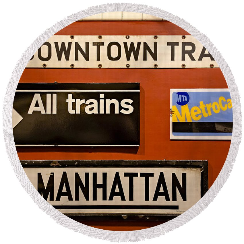 America Round Beach Towel featuring the photograph Nyc Subway Signs by Susan Candelario