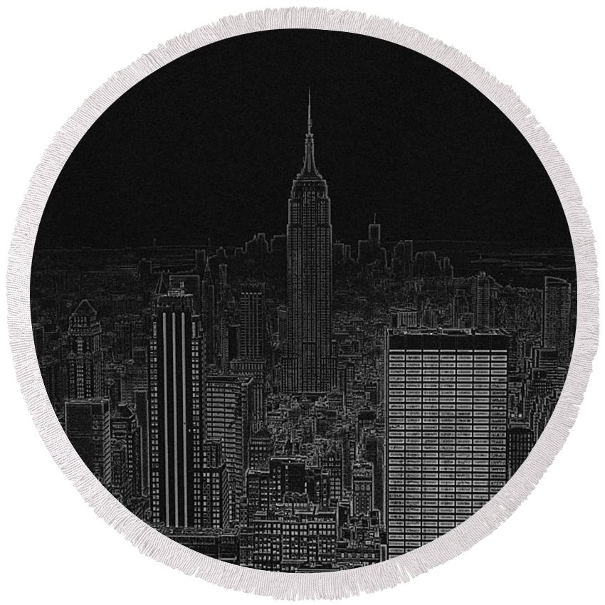 Empire State Round Beach Towel featuring the digital art Nyc White On Black by Meandering Photography