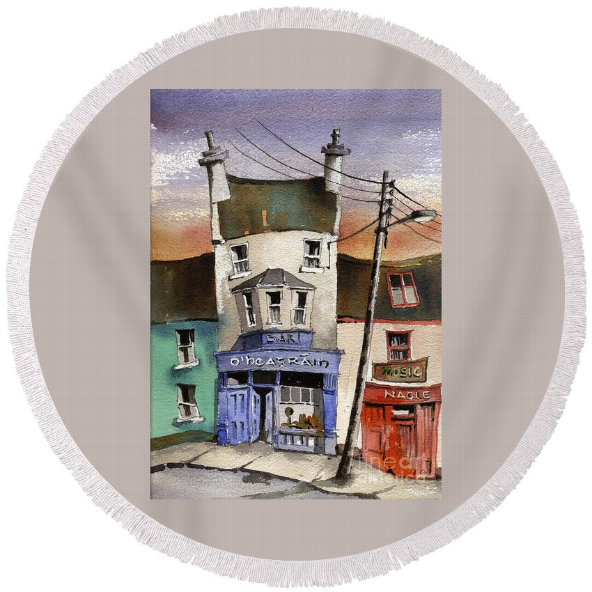 Val Byrne Round Beach Towel featuring the painting O Heagrain Pub, Viewed 21,339 Times by Val Byrne
