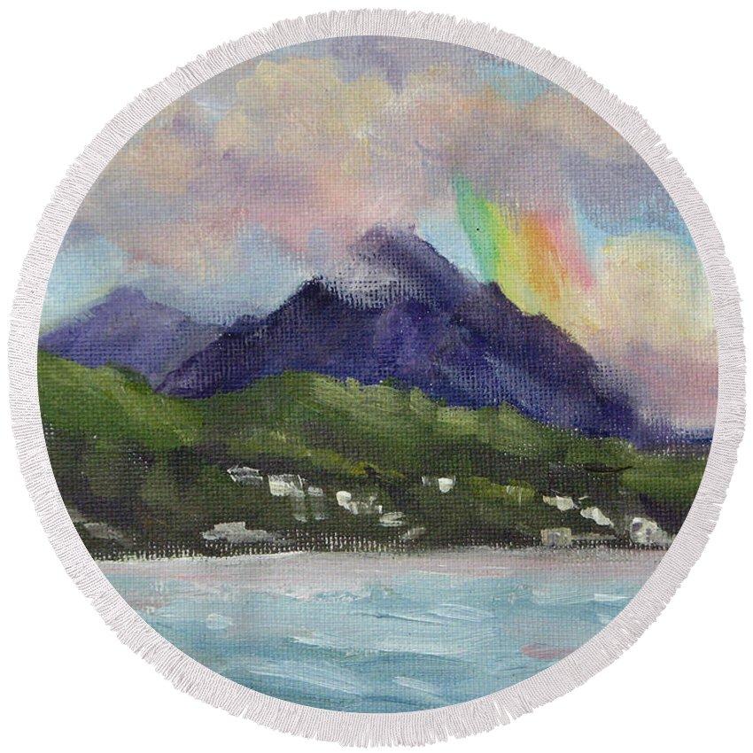 Hawaii Round Beach Towel featuring the painting Oahu North Shore Rainbow by Karin Leonard