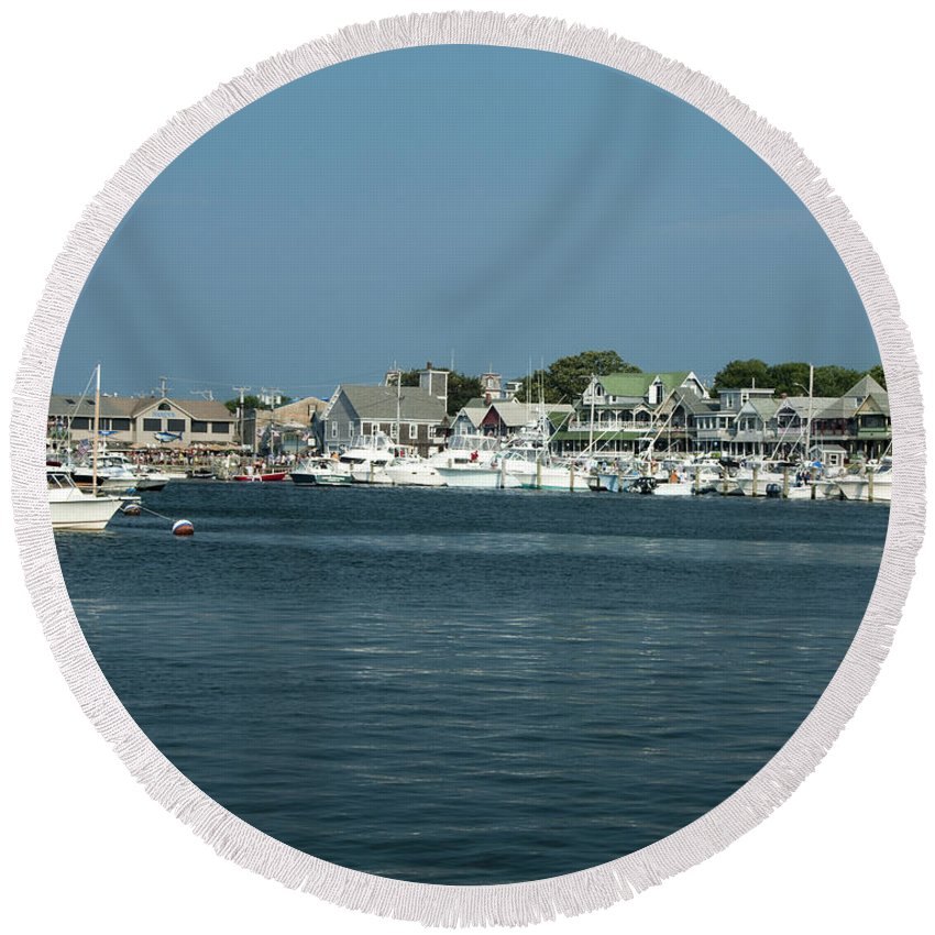 Photography Round Beach Towel featuring the photograph Oak Bluff Harbor by Steven Natanson
