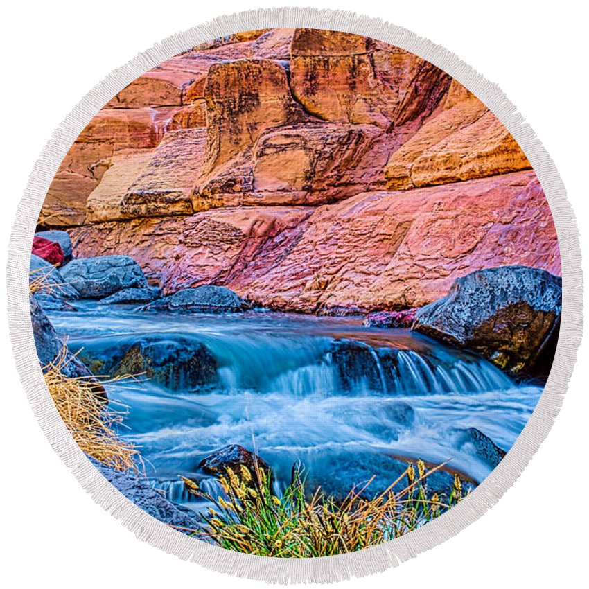 Fred Larson Round Beach Towel featuring the photograph Oak Creek In The Spring by Fred Larson