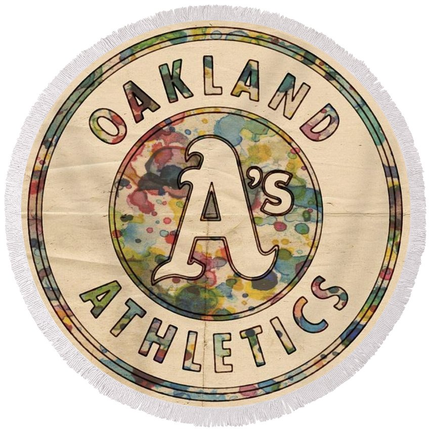 Oakland Athletics Round Beach Towel featuring the painting Oakland Athletics Poster Vintage by Florian Rodarte