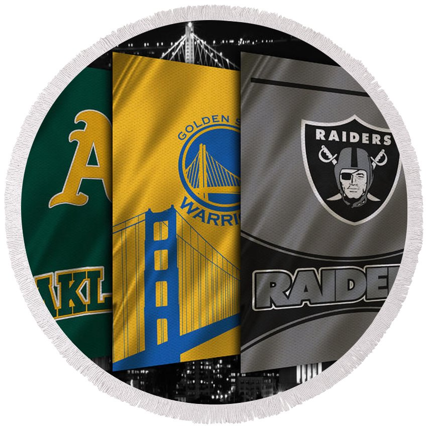 Raiders Round Beach Towel featuring the photograph Oakland Sports Teams by Joe Hamilton