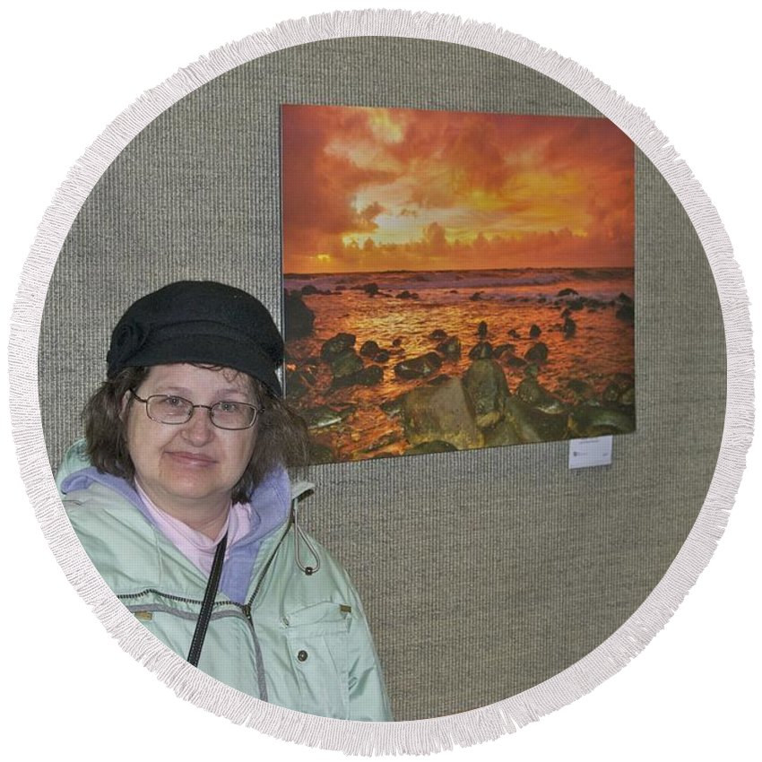 Oakwood Round Beach Towel featuring the photograph Oakwood Exhibit 2 by Michael Peychich