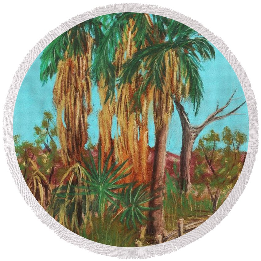 Plant Round Beach Towel featuring the painting Oasis by Anastasiya Malakhova