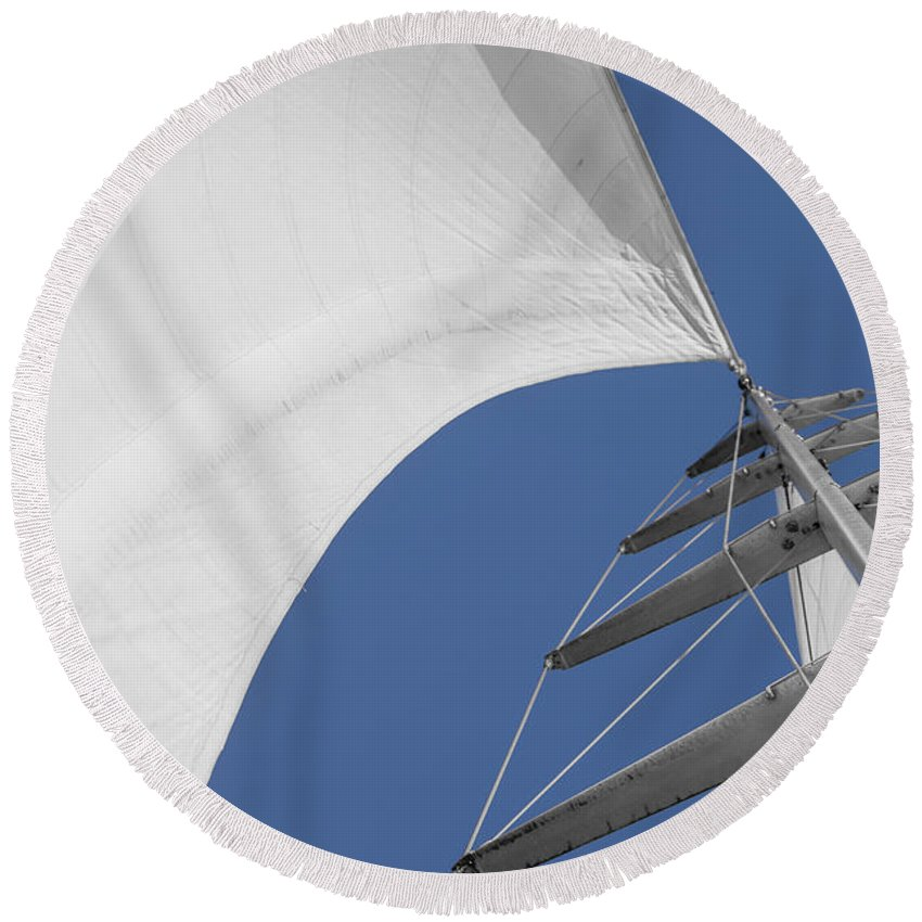 Sails Round Beach Towel featuring the photograph Obsession Sails 10 by Scott Campbell