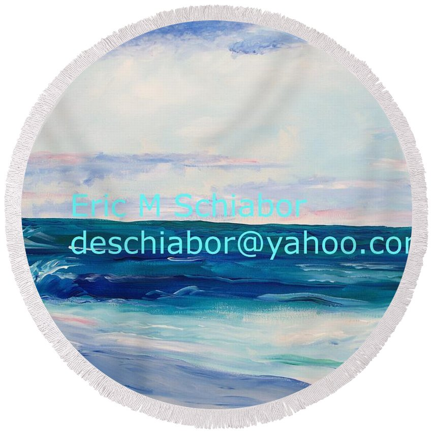 Floral Round Beach Towel featuring the painting Ocean Assateague Virginia by Eric Schiabor