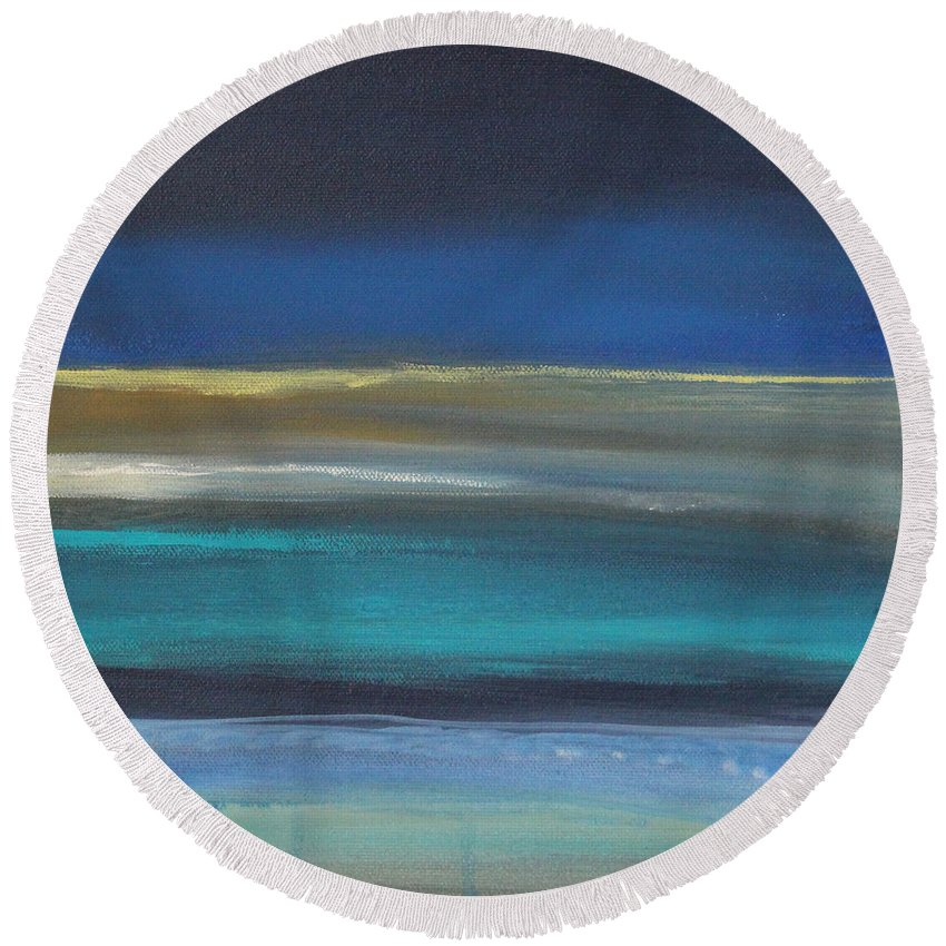 Abstract Painting Round Beach Towel featuring the painting Ocean Blue 2 by Linda Woods