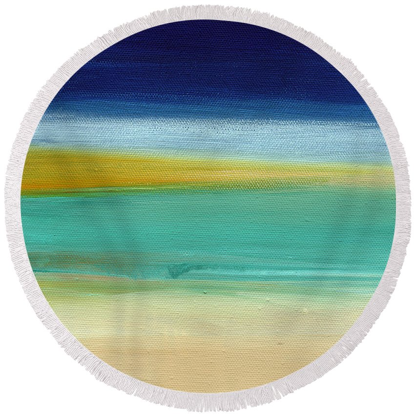 Abstract Round Beach Towel featuring the painting Ocean Blue 3- Art By Linda Woods by Linda Woods