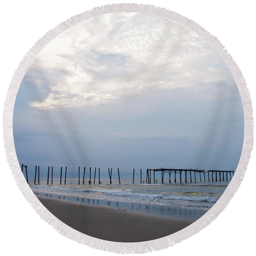 Ocean City At The 59th Street Pier Round Beach Towel featuring the photograph Ocean City At The 59th Street Pier by Bill Cannon