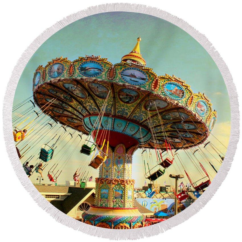 Ocean City Nj Carousel Swing Time Round Beach Towel