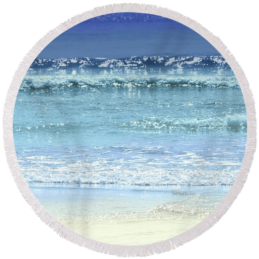 Water Round Beach Towel featuring the photograph Ocean Colors Abstract by Elena Elisseeva