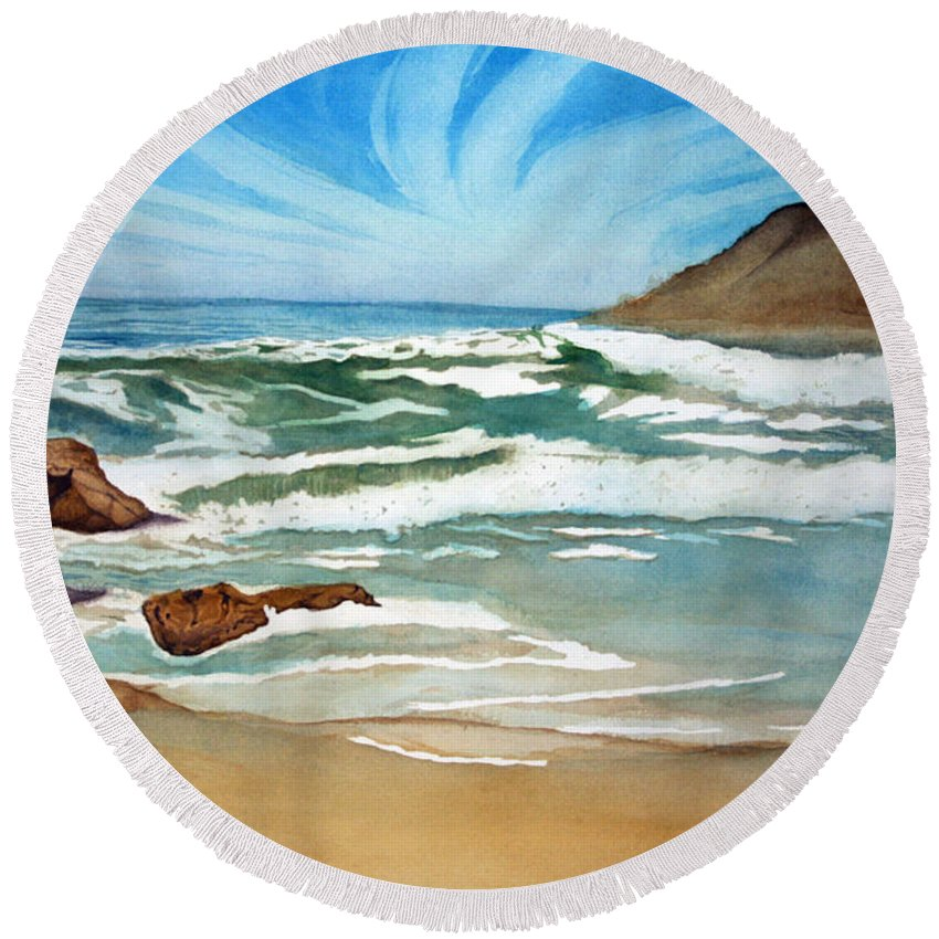 Rick Huotari Round Beach Towel featuring the painting Ocean Side by Rick Huotari