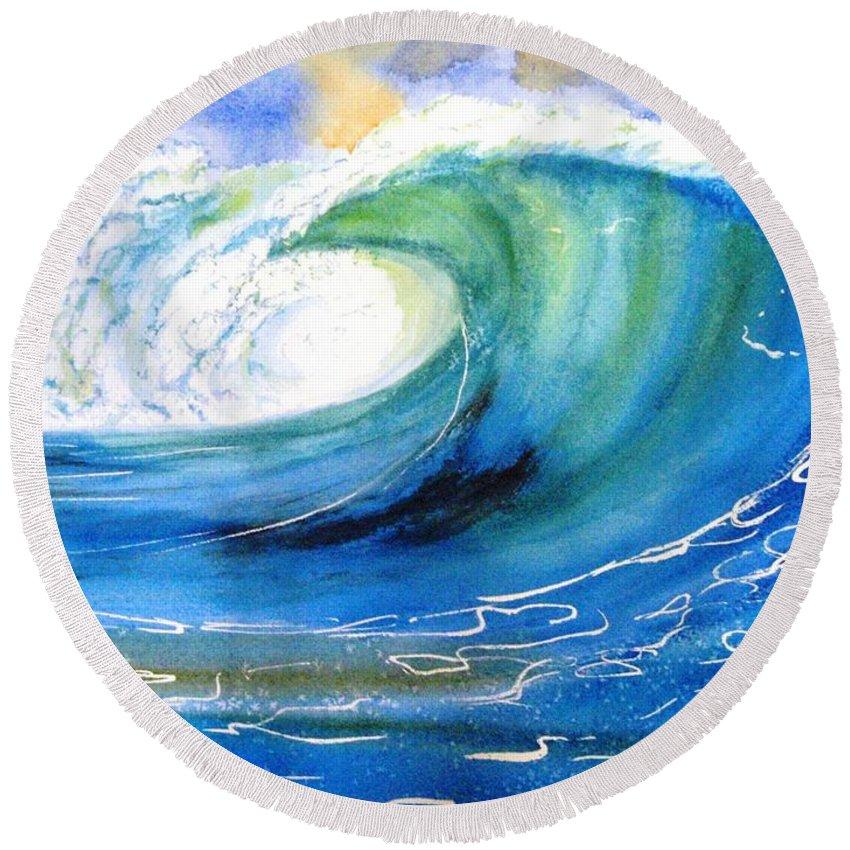 Wave Round Beach Towel featuring the painting Ocean Spray by Carlin Blahnik CarlinArtWatercolor