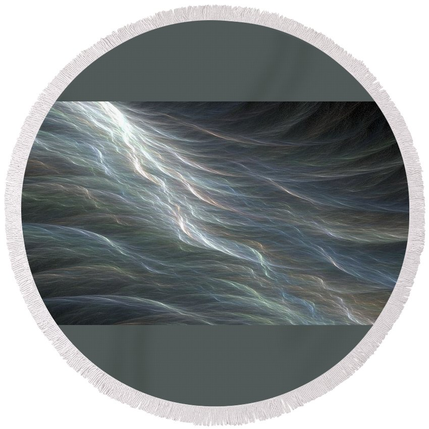 Fractal Round Beach Towel featuring the digital art Ocean Swell Fractal by Doug Morgan