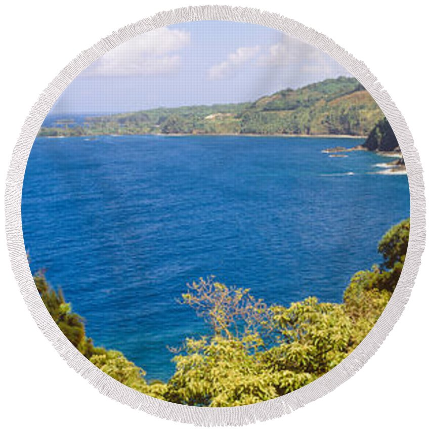 Photography Round Beach Towel featuring the photograph Ocean View From The Road To Hana, Maui by Panoramic Images