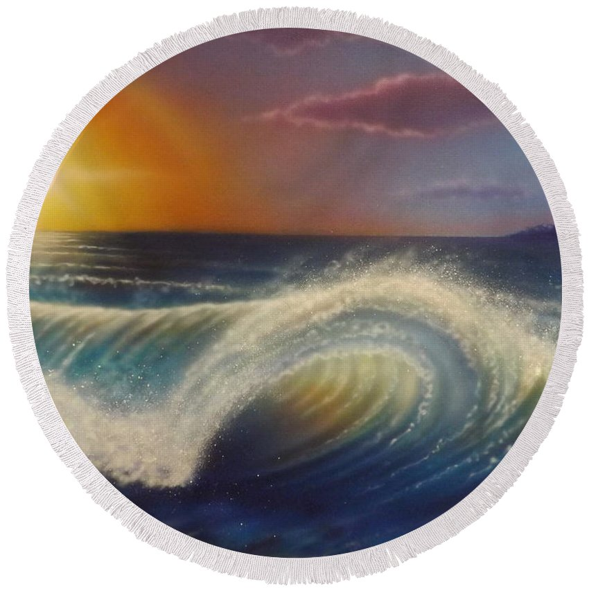 Ocean Round Beach Towel featuring the painting Ocean Wave by Darren Robinson