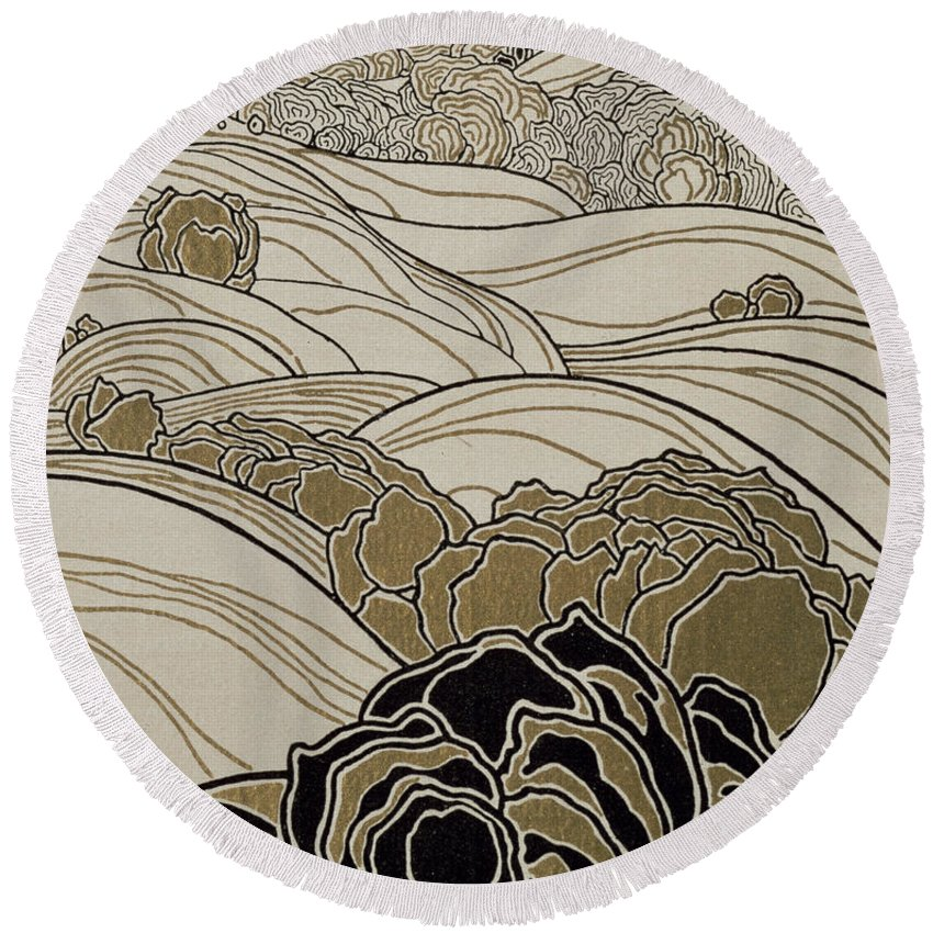 October Round Beach Towel featuring the painting October by Adolf Bohm
