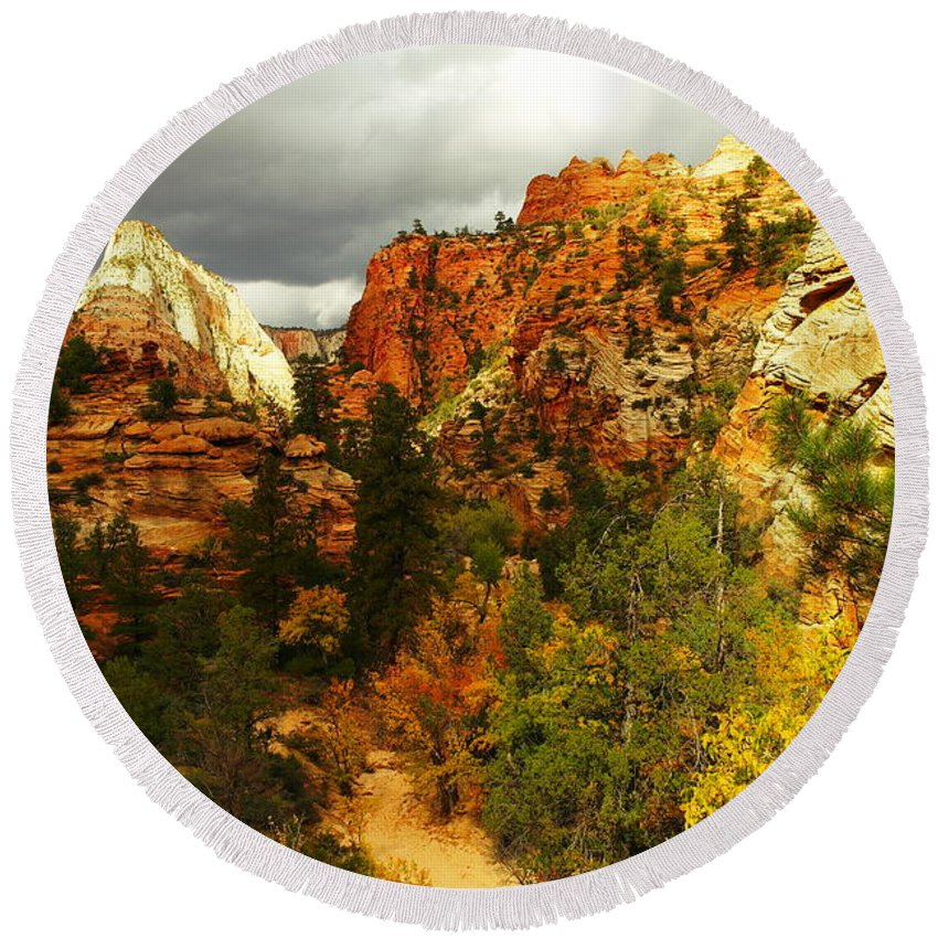 Utah Round Beach Towel featuring the photograph October In Zion by Jeff Swan