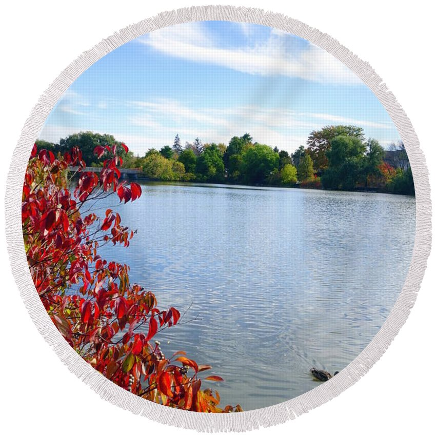 October Round Beach Towel featuring the photograph October On The Lake by Valentino Visentini