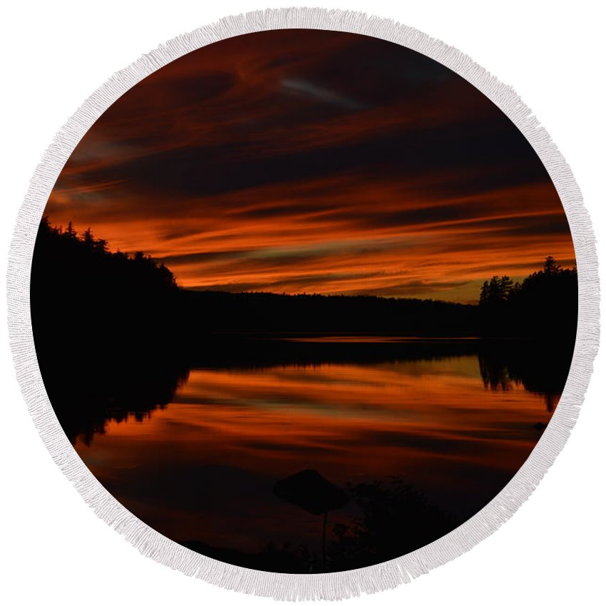 Sunset Round Beach Towel featuring the photograph October Red by Thomas Phillips