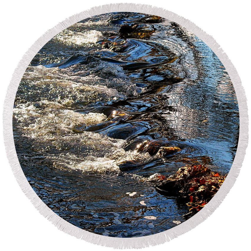 October Round Beach Towel featuring the photograph October Shimmers by Tami Quigley