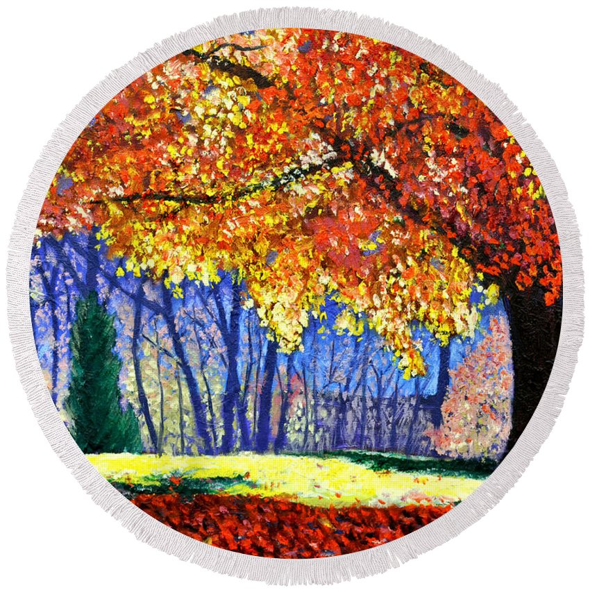 Fall Round Beach Towel featuring the painting October Surprise by Stan Hamilton
