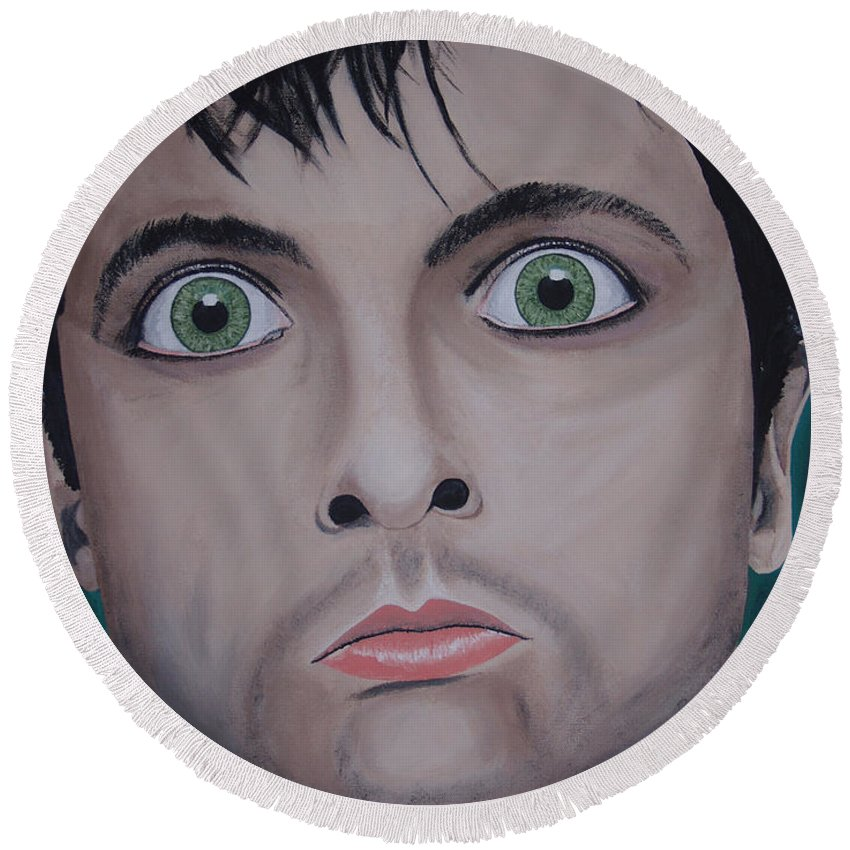 Rockumentory Round Beach Towel featuring the painting Ode To Billie Joe by Dean Stephens