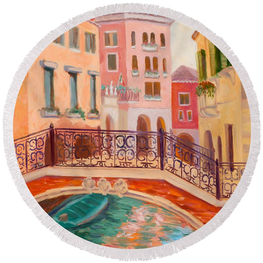 Venice Round Beach Towel featuring the painting Ode To Venice by Karin Leonard