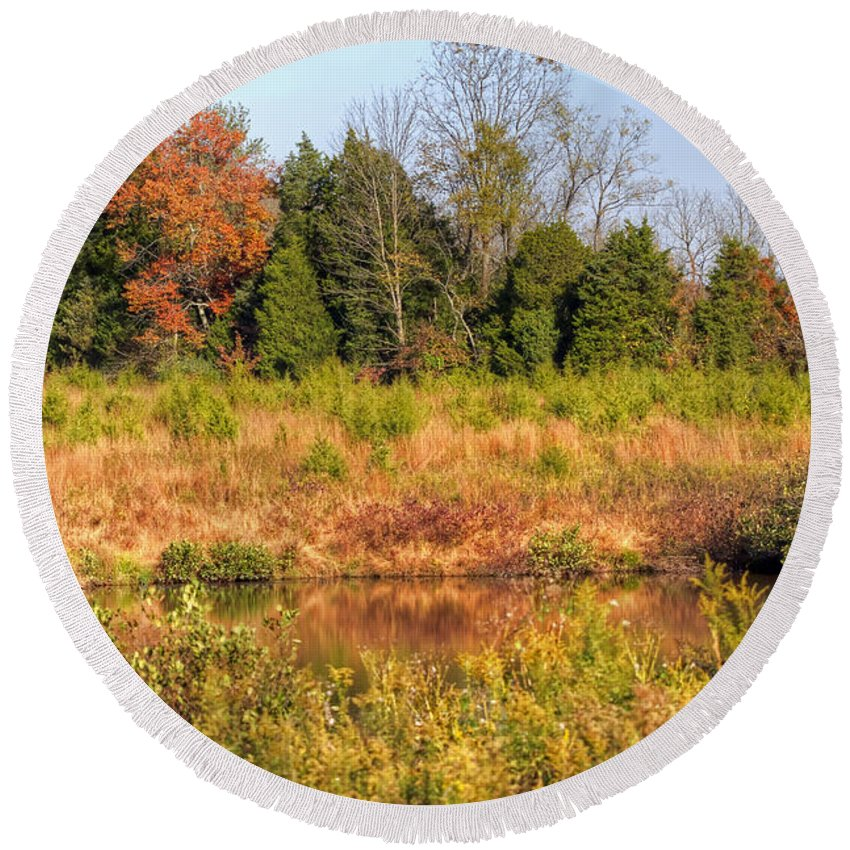 Autumn Round Beach Towel featuring the photograph Off Knight's Road by Mother Nature