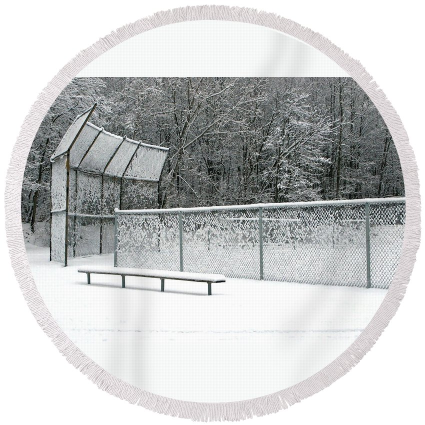 Winter Round Beach Towel featuring the photograph Off Season by Ann Horn