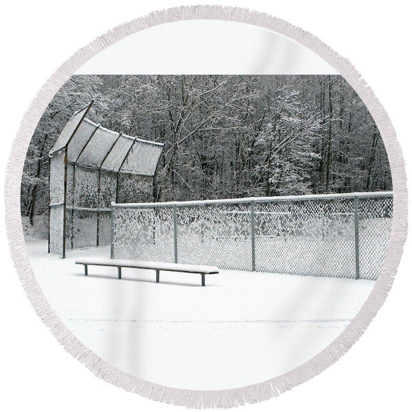 Winter Round Beach Towel featuring the photograph Off Season by Ann Horn