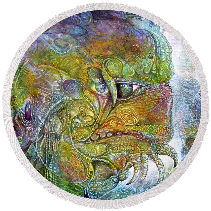 Tiamat Round Beach Towel featuring the painting Offspring Of Tiamat - The Fomorii Union by Otto Rapp