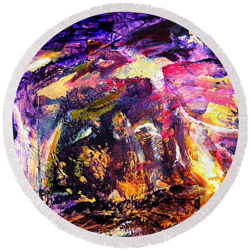 Abstract Round Beach Towel featuring the painting Oh Holy Night by Julianne Felton