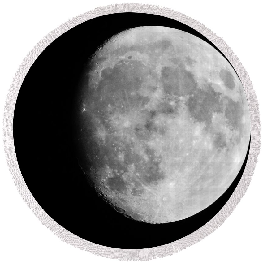 Black And White Round Beach Towel featuring the photograph Oh La Moon by Michele Nelson