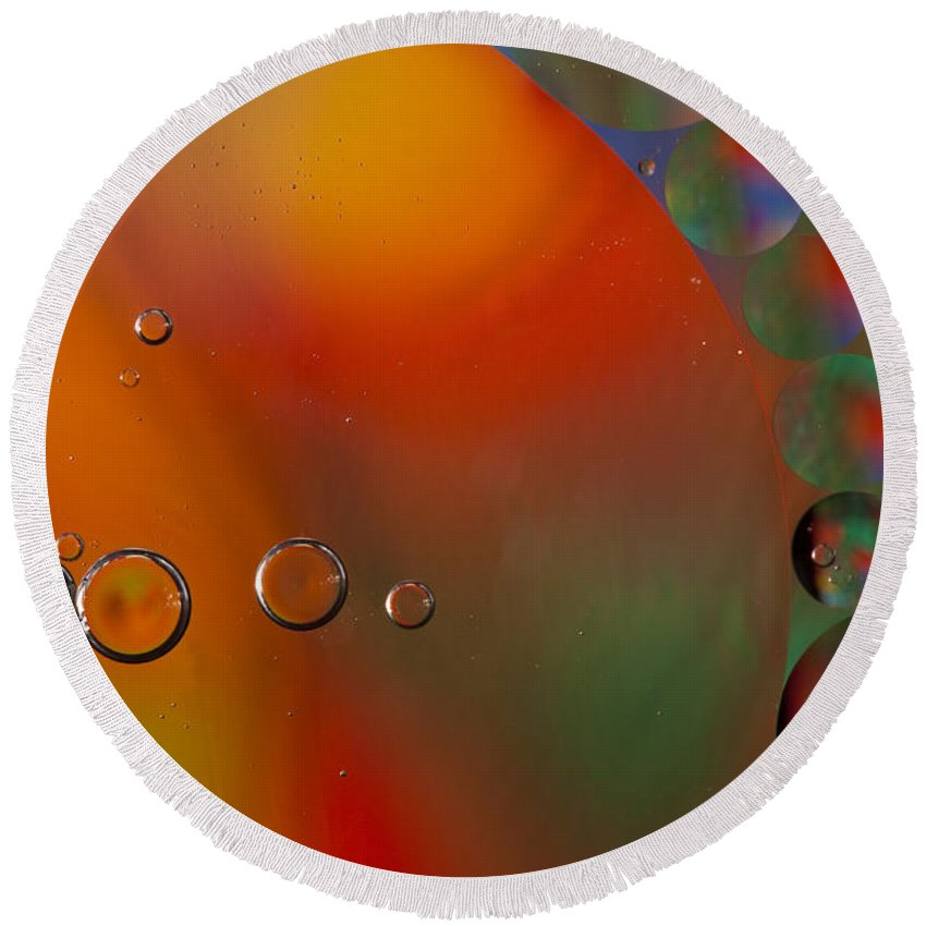 Abstract Round Beach Towel featuring the photograph Oil And Water 10 by John Brueske