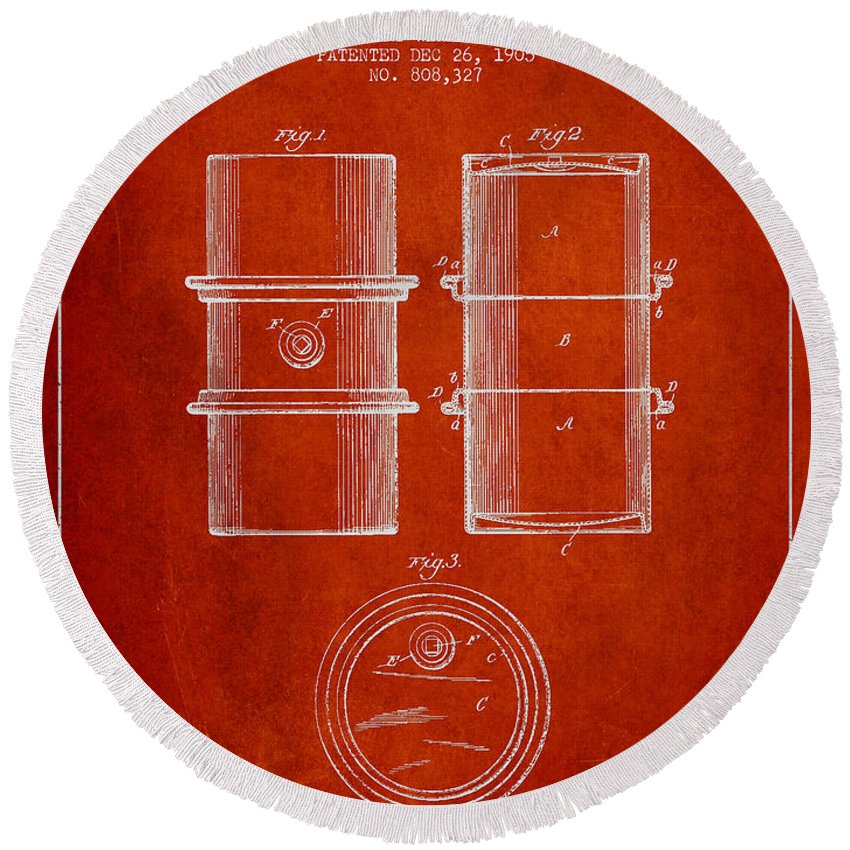 Oil Round Beach Towel featuring the digital art Oil Drum Patent Drawing From 1905 by Aged Pixel