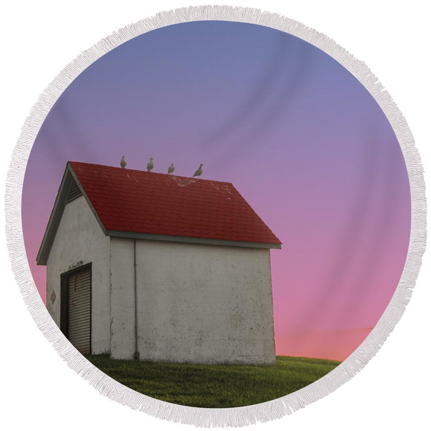 National Register Of Historic Places Round Beach Towel featuring the photograph Oil House by Juli Scalzi