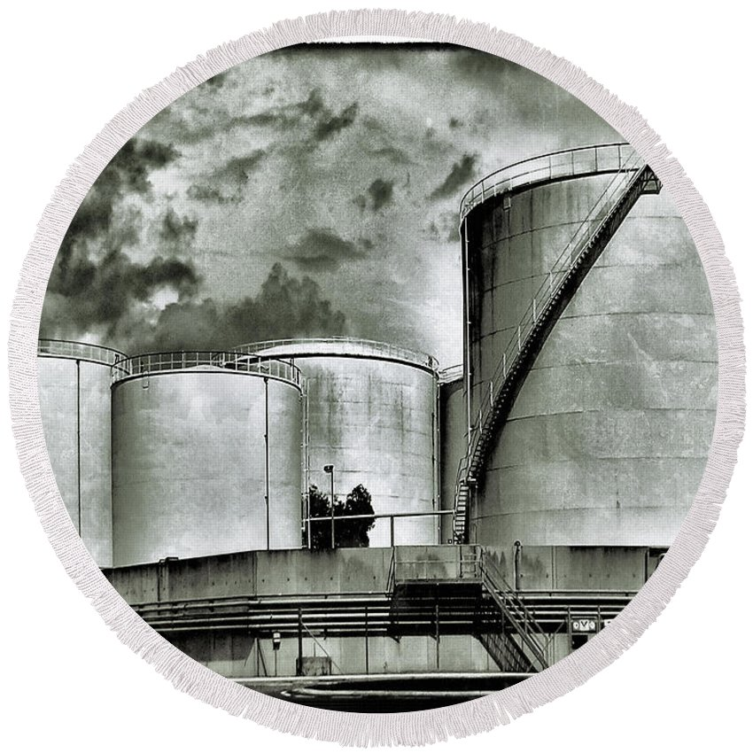 Oil Tanks Round Beach Towel featuring the photograph Oil Storage Tanks 1 by Dominic Piperata