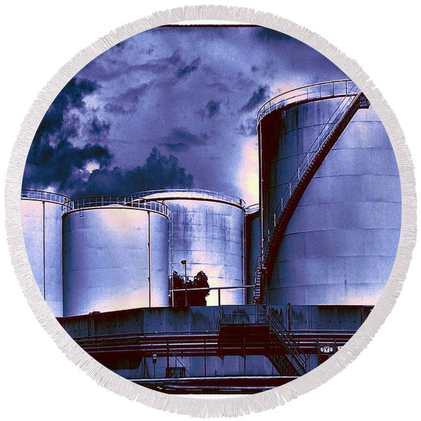 Oil Tanks Round Beach Towel featuring the photograph Oil Storage Tanks 2 by Dominic Piperata