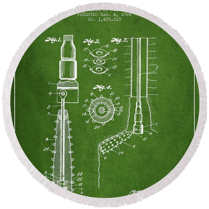 Oil Round Beach Towel featuring the digital art Oil Well Reamer Patent From 1924 - Green by Aged Pixel