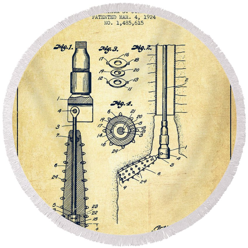 Oil Round Beach Towel featuring the digital art Oil Well Reamer Patent From 1924 - Vintage by Aged Pixel