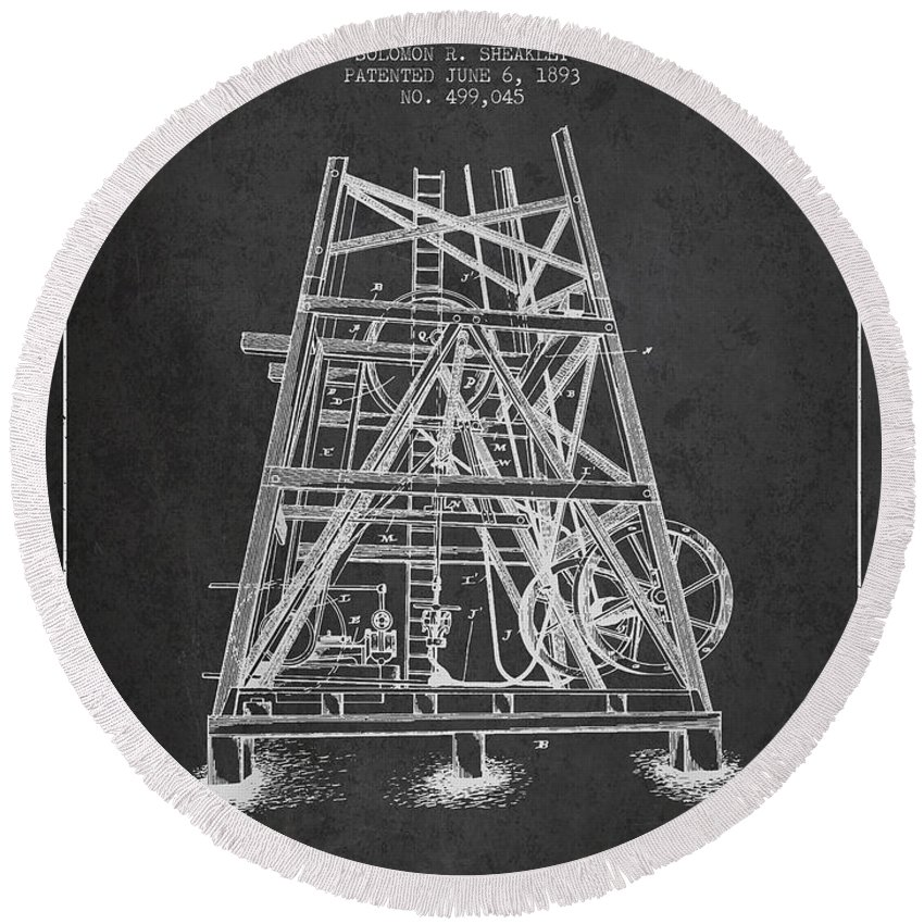 Oil Round Beach Towel featuring the digital art Oil Well Rig Patent From 1893 - Dark by Aged Pixel
