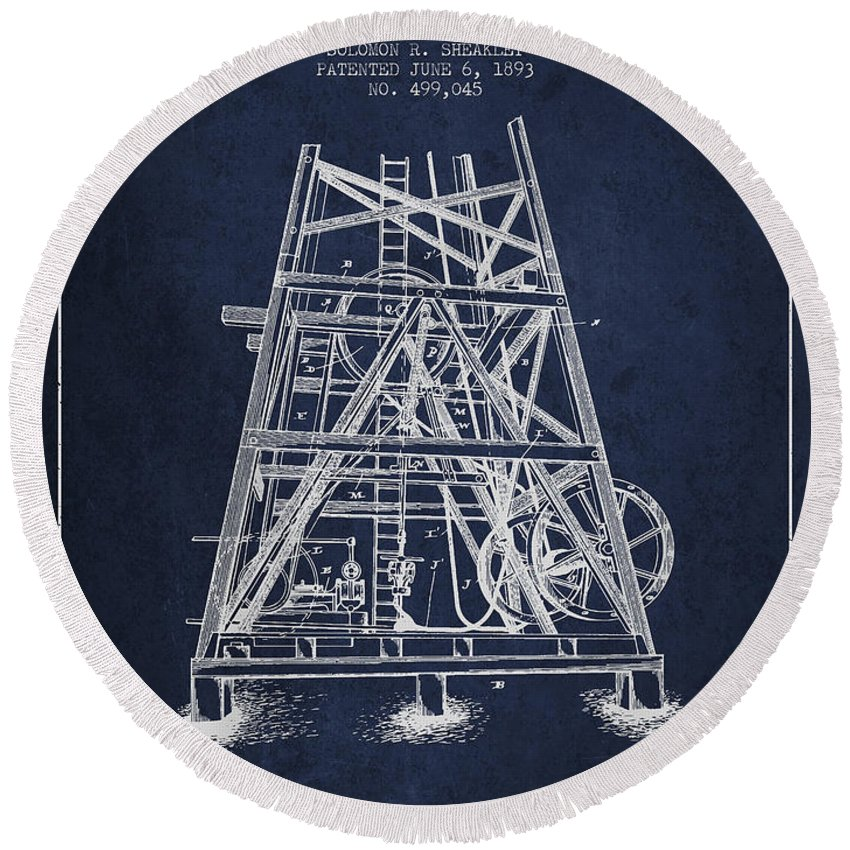 Oil Round Beach Towel featuring the digital art Oil Well Rig Patent From 1893 - Navy Blue by Aged Pixel