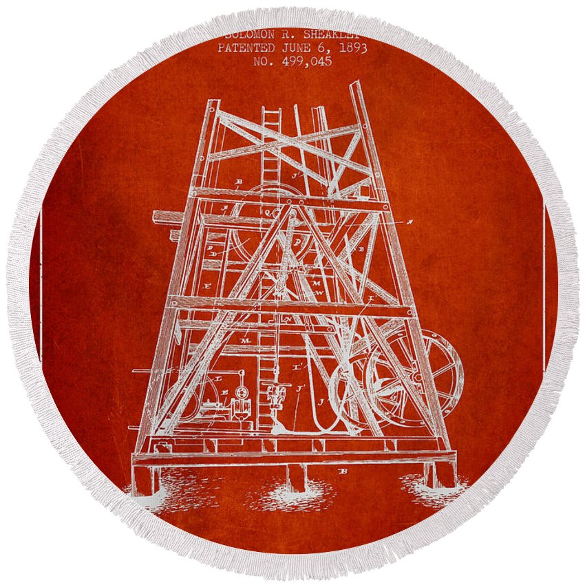 Oil Round Beach Towel featuring the digital art Oil Well Rig Patent From 1893 - Red by Aged Pixel