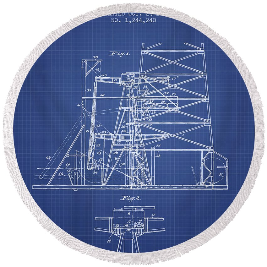 Oil Round Beach Towel featuring the digital art Oil Well Rig Patent From 1917 - Blueprint by Aged Pixel